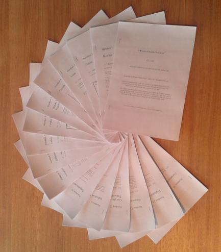 Picture of handouts arranged in a fan design