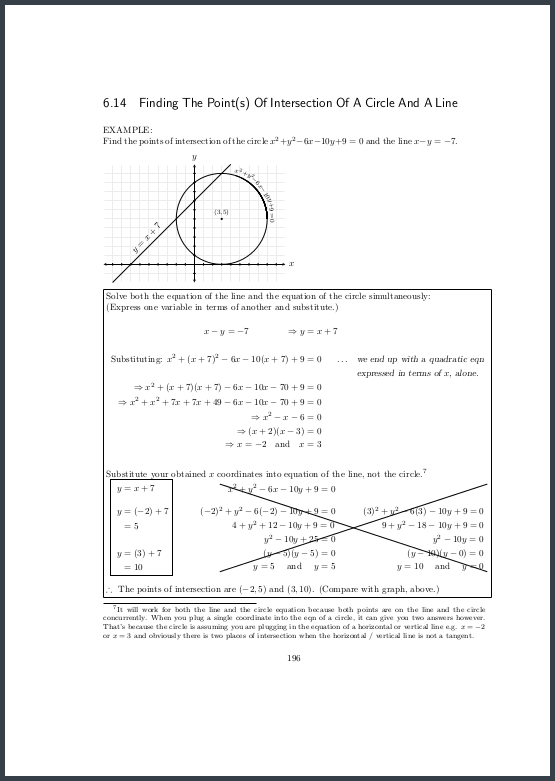 Page 196 Finding intersections of line and circle
