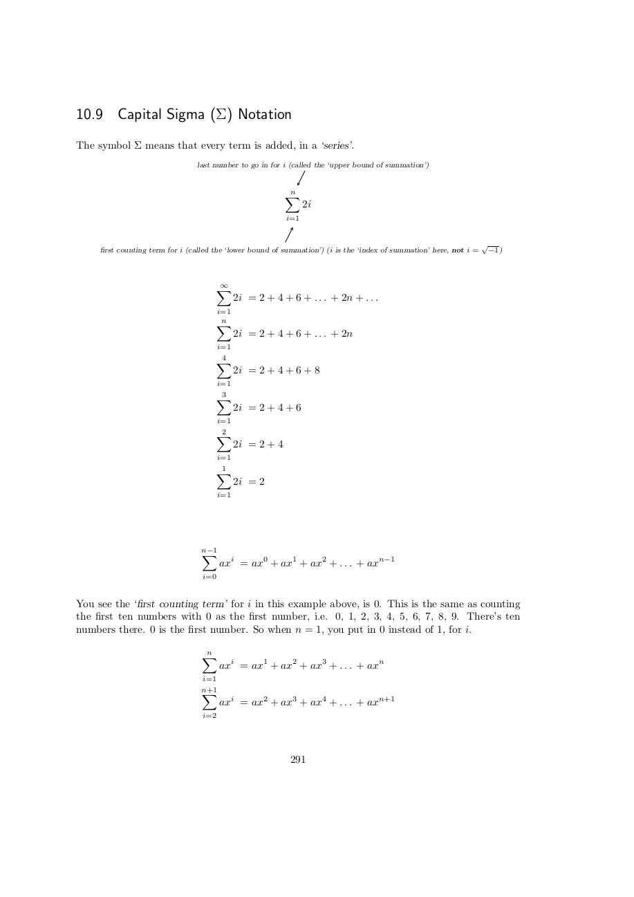 Page 291 Capital sigma notation for series
