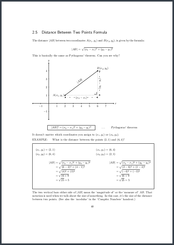 Page 40 Distance between two points formula