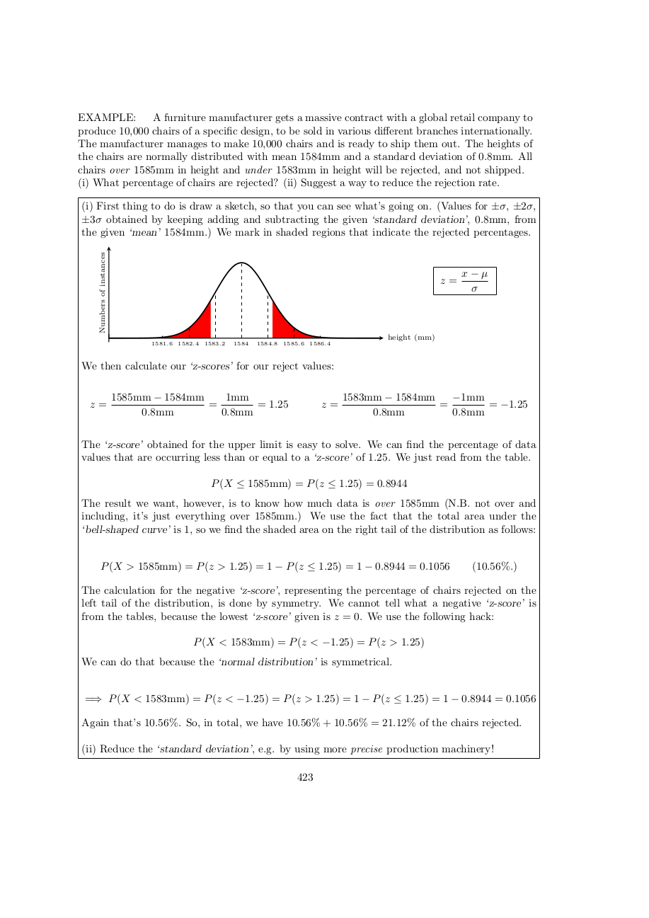 Page 423 Z scores and normal distribution